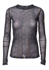 Long Sleeve Night Orchid Mesh Top