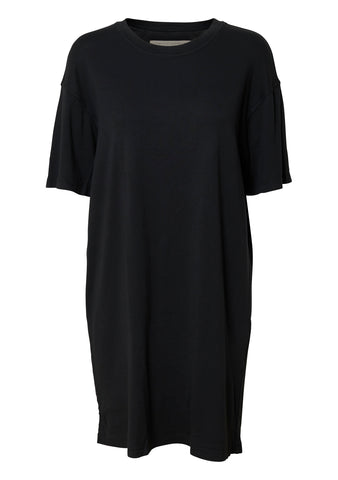 Black Cotton T-shirt Dress