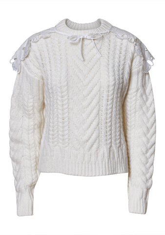 Monse Ivory Cable Wool Jumper