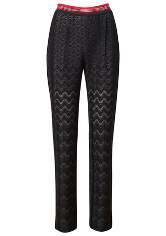 Black Detailed Wool Pants