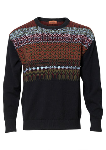 Black Multi Printed Crew Neck