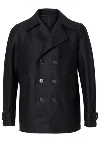 Peacoat Black Pressed Wool Coat