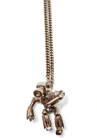Robot Palladium Silver Necklace