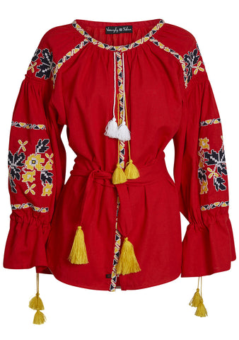 Red Hand Embroidered Blouse
