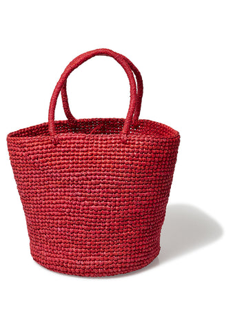 Red Woven Toquilla Straw Tote