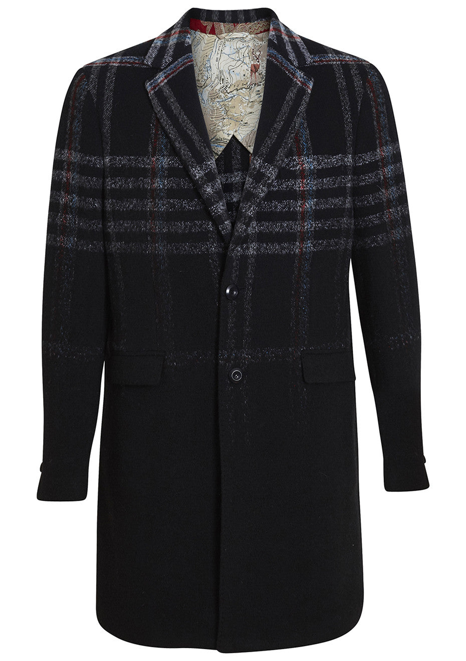 Dégradé Check Wool Coat
