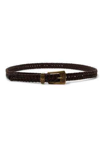 Thin Brown Woven Leather Belt