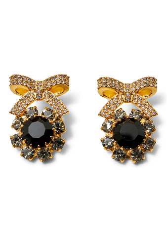 Crystal Bow Black & Gold Earrings