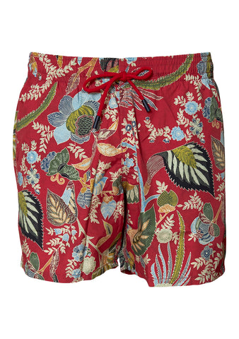 Red Floral Swim Shorts