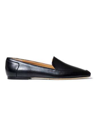Bezier Black Leather Flats