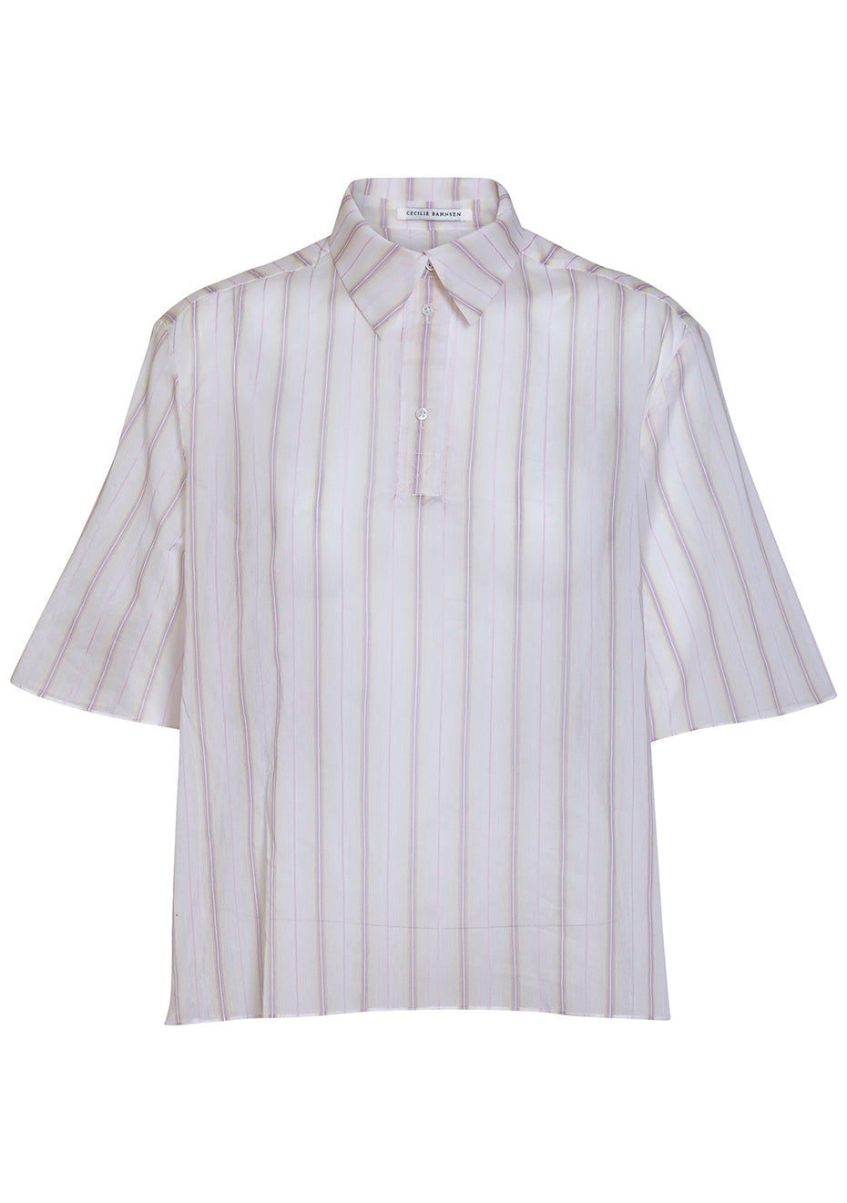 Pamela Striped Cotton Silk Polo Shirt
