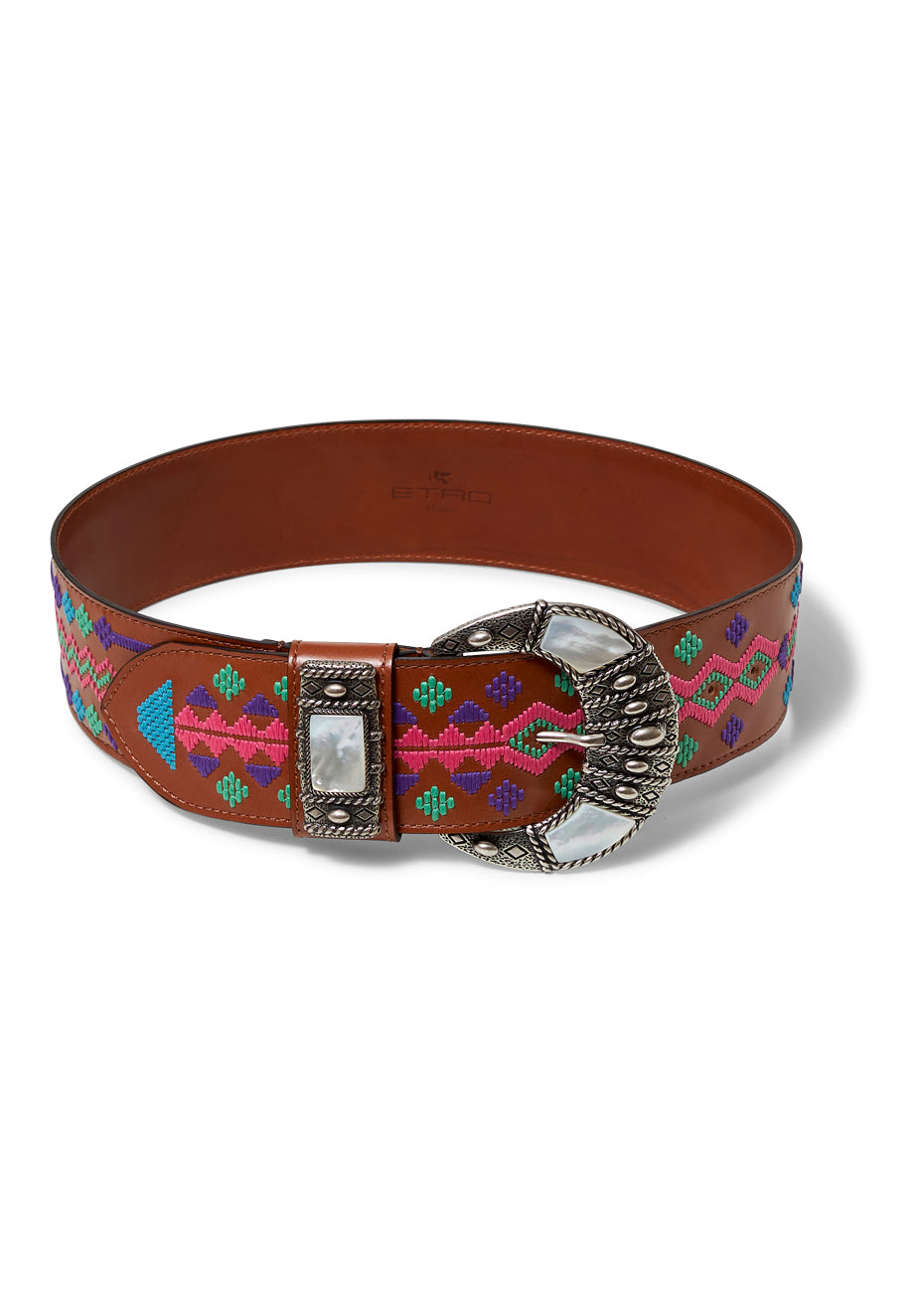 Brown Embellished Buckle Belt