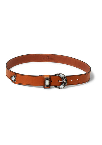 Cognac Embellished Leather Belt