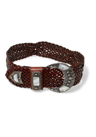 Brown Woven Buckle Belt