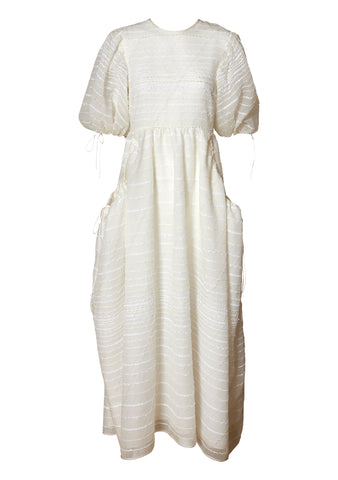 Lola White Open Back Jacquard Dress