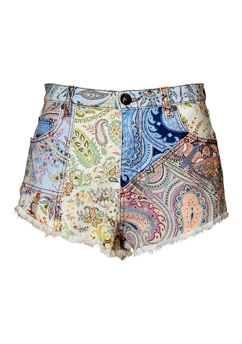 Paisley Denim Shorts