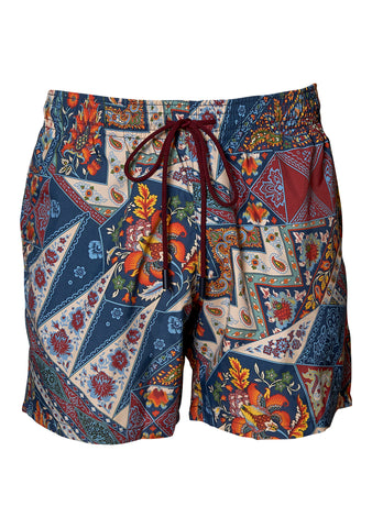 Blue Paisley Swim Shorts