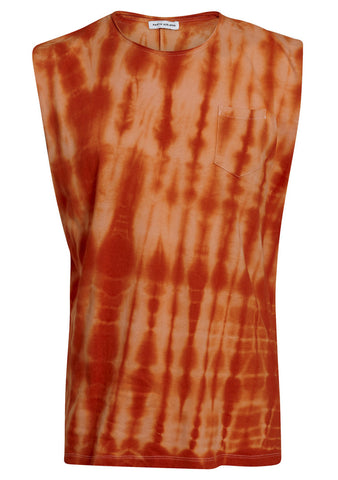 Orange tie dye muscle tee