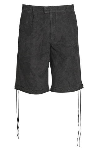 Black pleated suede shorts