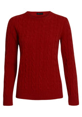 Red Cashmere Cable-knit Sweater