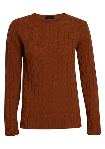 Rust Cashmere Cable-knit Sweater