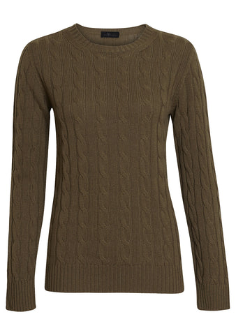 Olive Cashmere Cable-knit Sweater