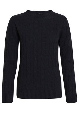 Black Cashmere Cable-knit Sweater