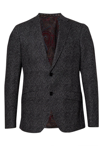 Grey and Black Wool Blazer