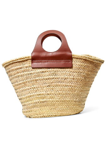 Cabas Chestnut Straw Tote Bag