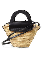 Mini Cabas Black Straw Tote Bag