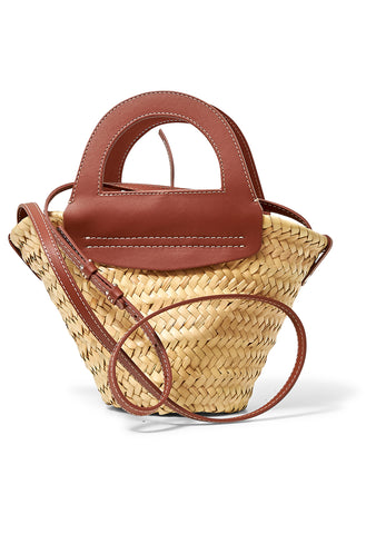 Mini Cabas Chestnut Straw Tote Bag