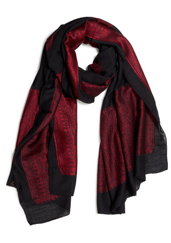Black Wool & Silk Scarf