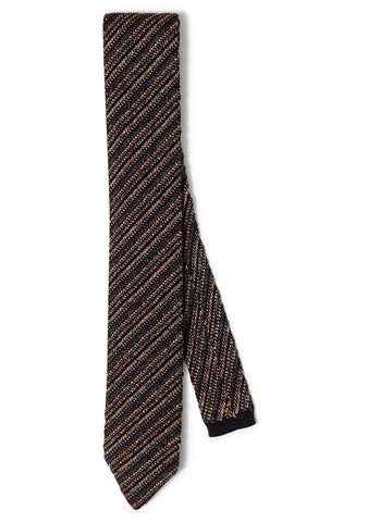 Orange Striped Wool Tie