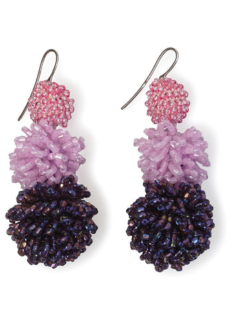 Fuchsia and Violet Fringed Ball Earrings