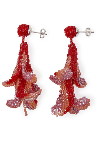 Red, Peach and Pink Wisteria Earrings