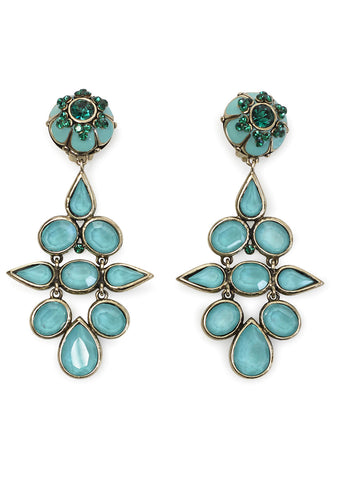Turquoise Enamel Flower Clip Earrings