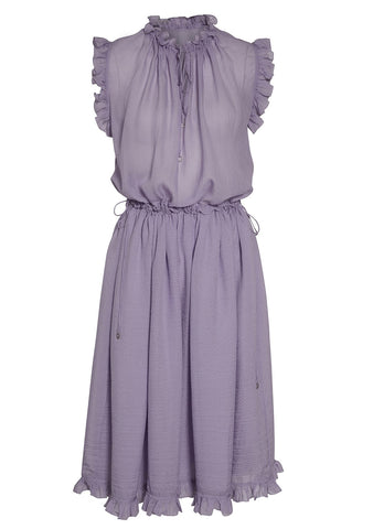 Hanne Bloch Lilac Silk Frill Dress
