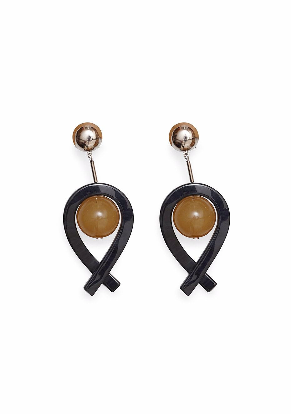 Loma Black-Camel Earrings