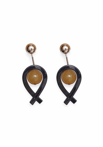 Rachel Comey Loma Black-Camel Earrings