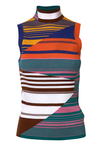 Multi-Colored Sleeveless Mock Tank Top