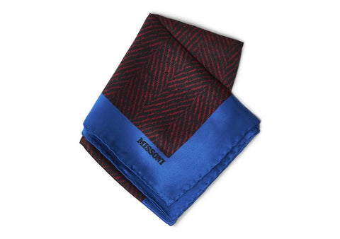 Blue & Red Silk Scarf