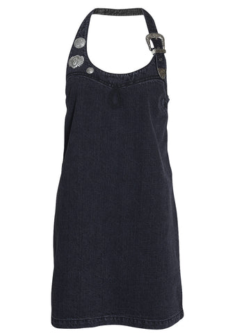 Buckle Halter Strap Denim Dress