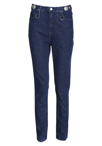 slim mid-rise two colored jeans