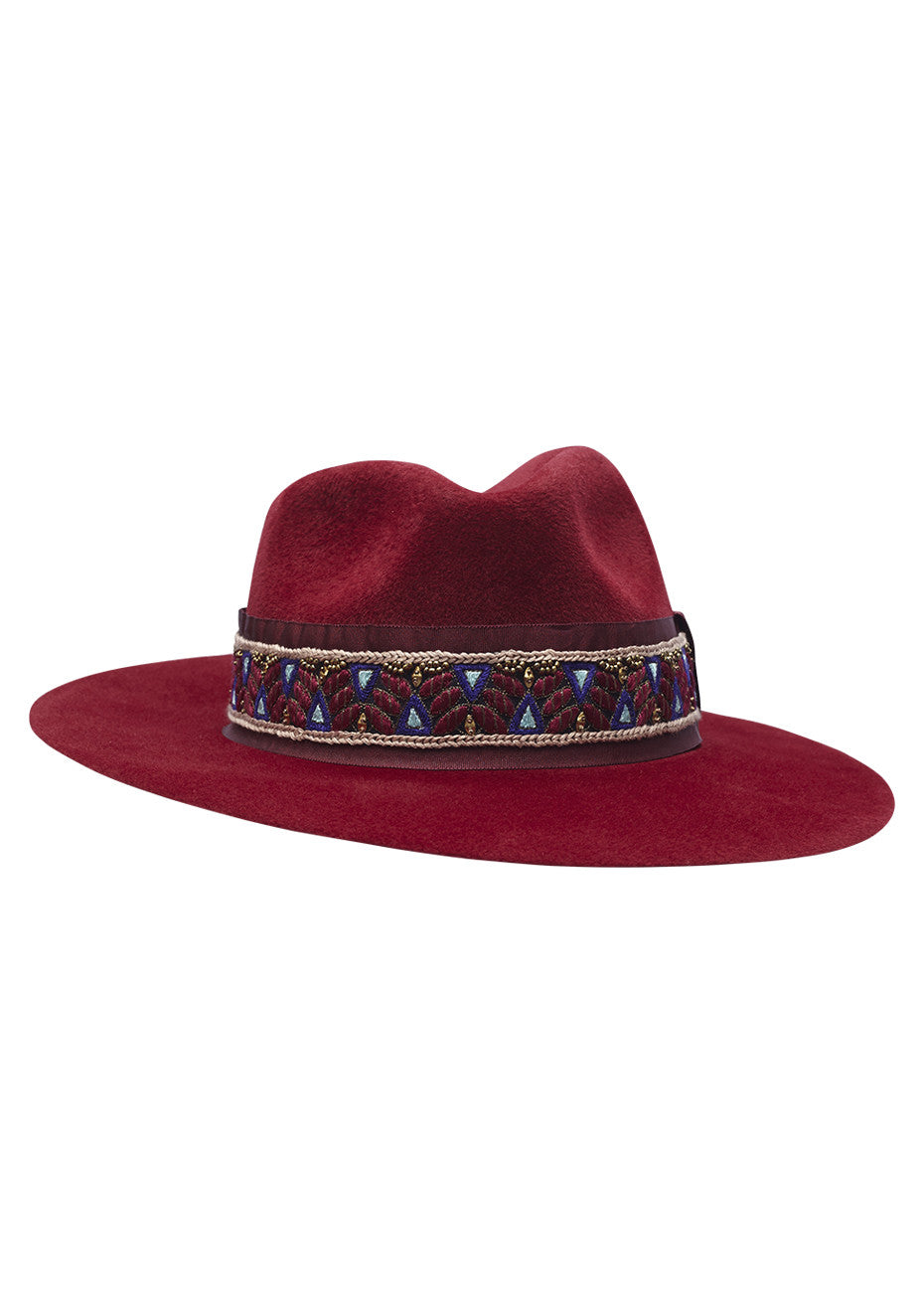 Dark red felt hat