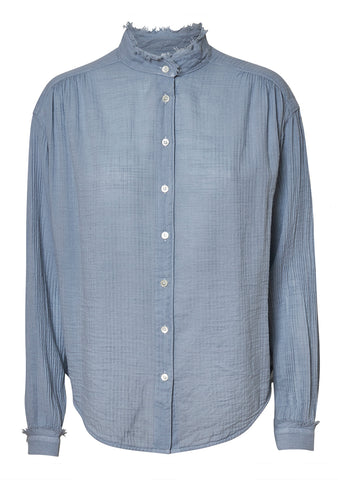 Raquel Allegra Dusty Blue Shirred Blouse shop online at lot29.dk