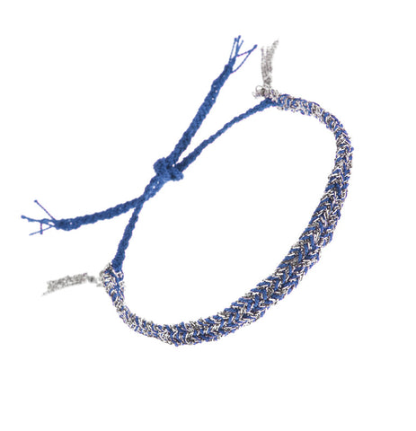 Silver And Blue Silk Thread Bracelet