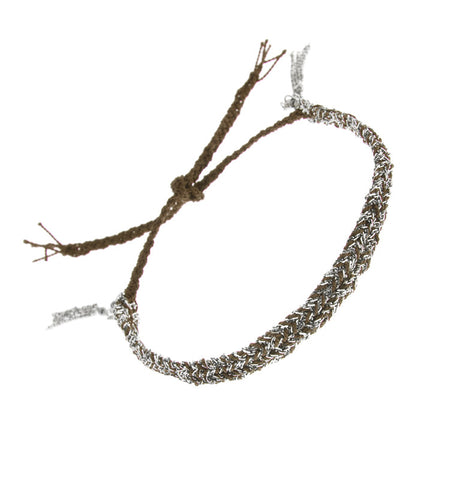 Silver And Brown Silk Thread Bracelet