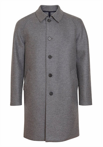 Harris Wharf London Grey Mouline Raglan Pressed Wool Coat