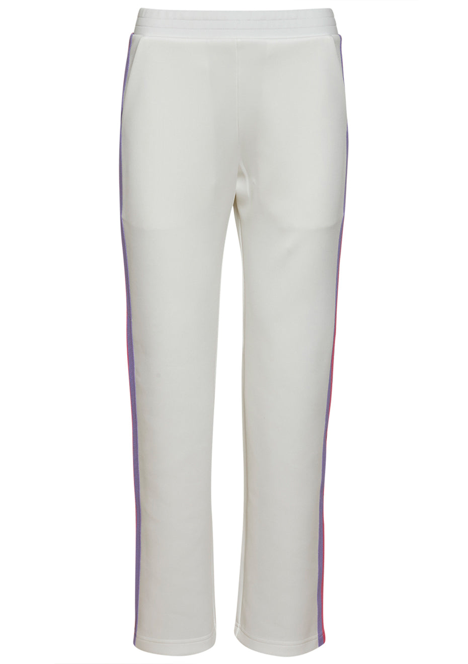 White Popper Side Stripe Jogger Pants