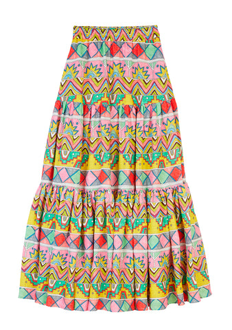 Mira Mikati Ethnic Ribbon Print Maxi Skirt shop online at lot29.dk